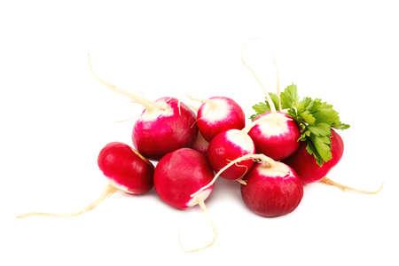 Fresh radish fruits isolated on a white background.