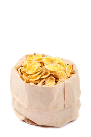 Corn flakes isolated on a white background.