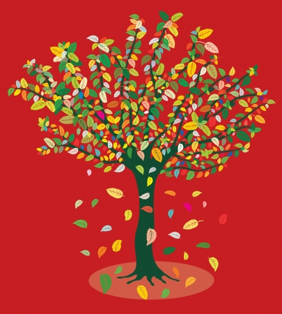 late autumn: Late summer tree Illustration