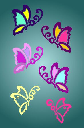 Set of abstract butterflies in different colors