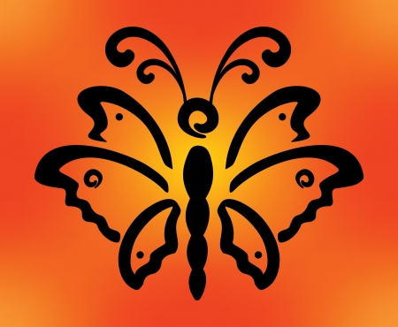 Abstract decorative black butterfly silhouette on orange background Illustration