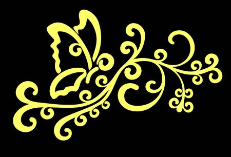 Decorative abstract yellow butterfly on branch with swirls and black background