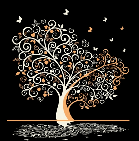 White tree with swirls ,leaves and butterflies on black background Vector