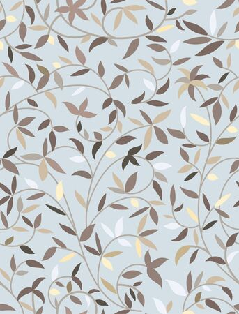 Vector seamless blue pattern with leaves