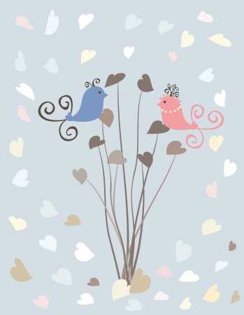 Valentain,s Day design with hearts and birds Illustration