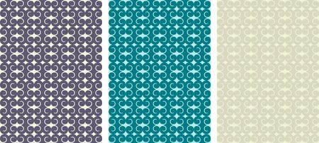 Set of seamless vector pattern in three colors