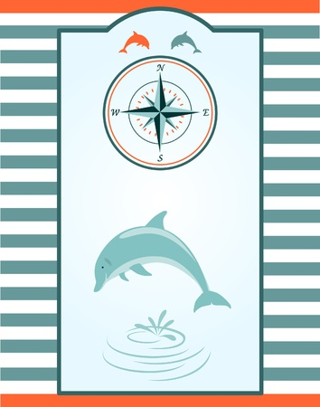 Dolphin and compass rose decoration
