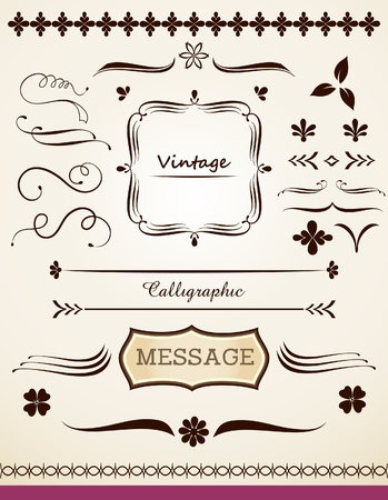 Page decor calligraphic and vintage design elements