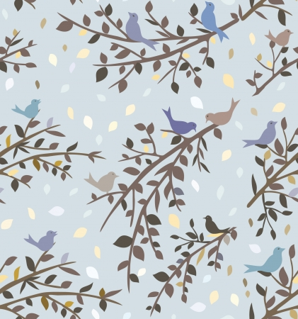 Seamless background or wallpaper with birds and branches