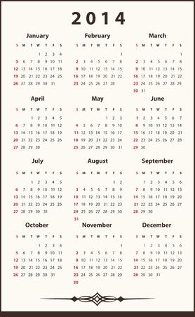 2014 ellegant calendar Vector