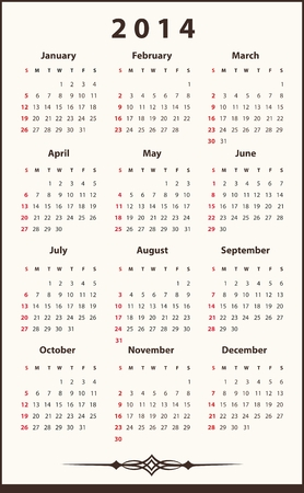 2014 ellegant calendar Illustration