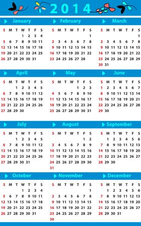 Yearly Calendar for 2014 Vector