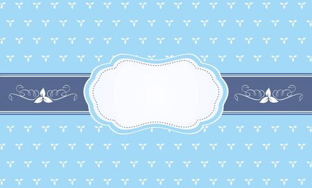 Beautiful frame on blue backgound with leaves