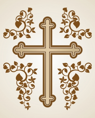 gold cross: Christian Cross with fluorish decorations