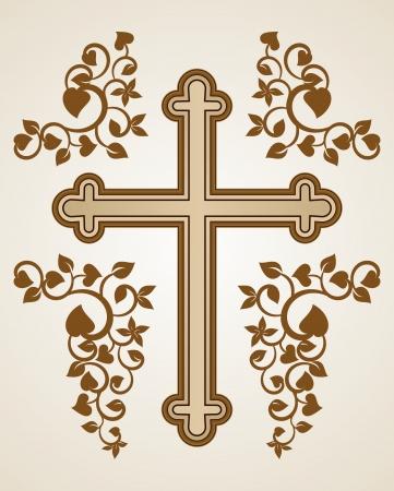 jesus on cross: Croce cristiana con decorazioni fluorish