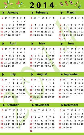 Calendar for 2014 Vector