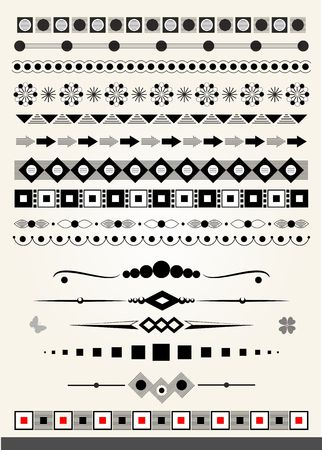 Page or text dividers, borders and decorations, geometric style Vector