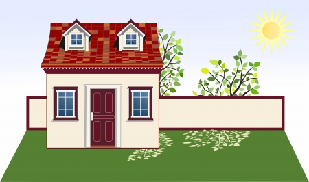 Garden house illustration with space for text Vector
