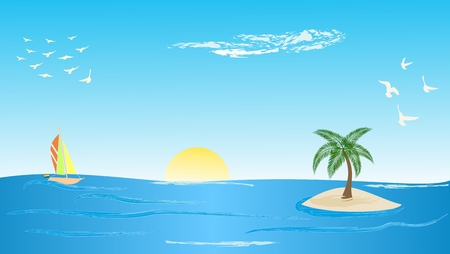 flying boat: Tropical island with palm tree Illustration