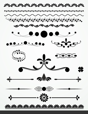Black and white text dividers, borders and decorations Vector
