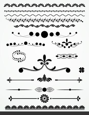 ligne: Noir et blanc diviseurs de texte, des bordures et d�corations