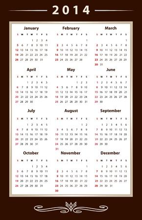 Elegant calendar for 2014 Illustration