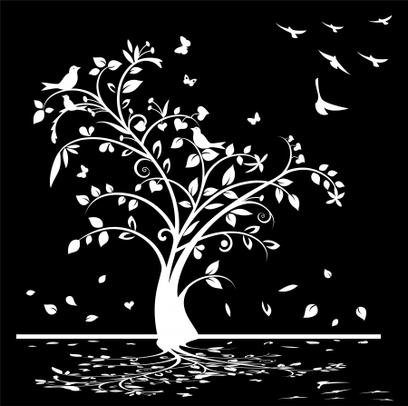 Black and white Tree, birds and butterflies Vector