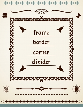 Page and text frame, border, corner, divider Stock Vector - 24753032