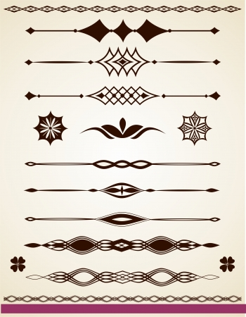 Paragraph and text dividers, borders and decorations Illustration
