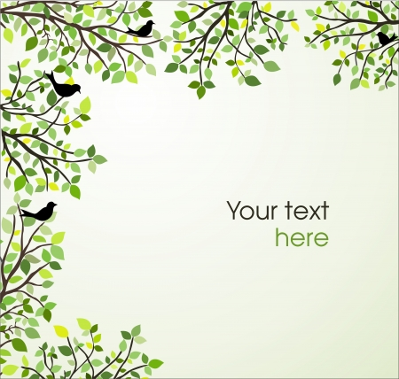 Background with branches and green leaves Vector