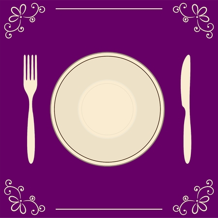 Empty plate with fork and knife on decorative background