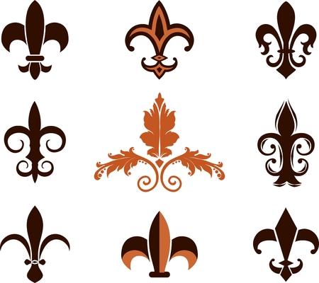 symbol fleur de lis: Fleur de lis icons Illustration