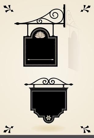 Black vintage signboards
