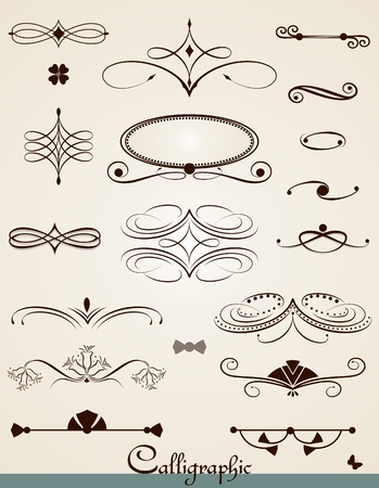 Calligraphic  decorations, design elements and dividers Vector