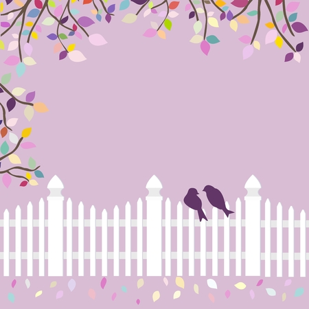 White fence with birds and branches Illustration