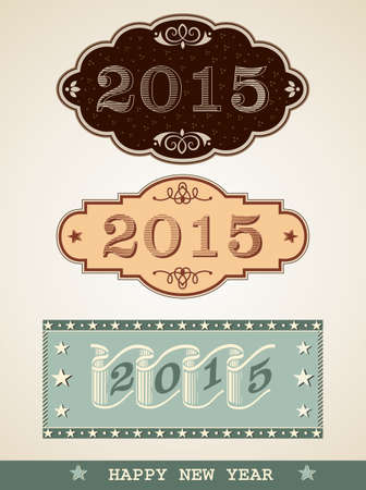New Year 2015, vintage decorative labels Illustration
