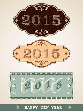 New Year 2015, vintage decorative labels Illustration