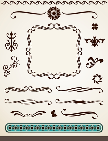 Vintage page decorations, dividers, borders and text frame