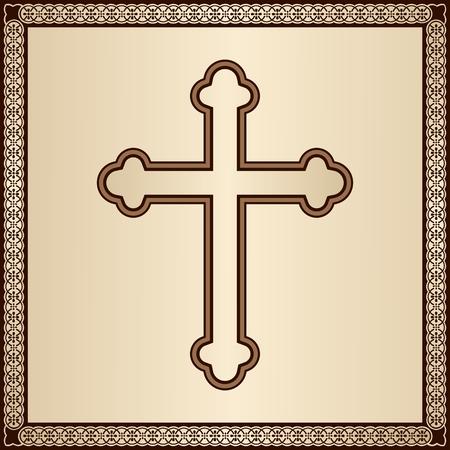 familia en la iglesia: Cruz cristiana elegante sobre fondo de oro con marco de filigrana Vectores