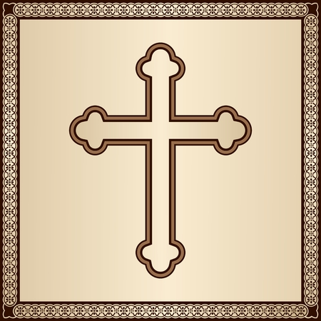 Elegant Christian Cross on gold background with filigree frame Illusztráció
