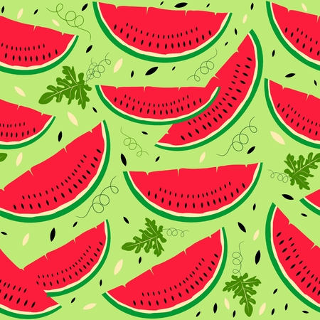 Seamless pattern with watermelon slices Illusztráció