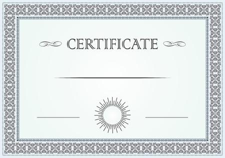 decoratif: Certificat bordure florale et un modèle Illustration