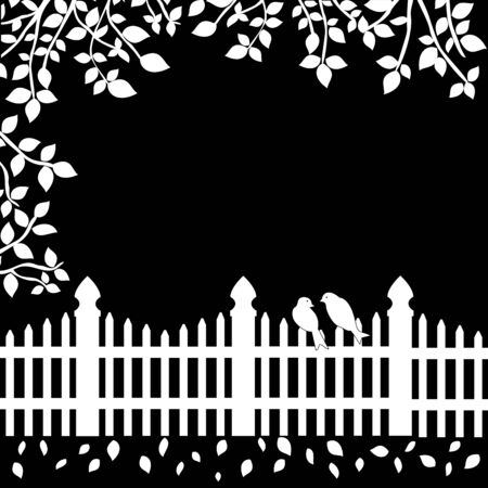 White fence with birds and branches on black background Illustration