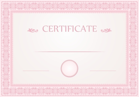 Certificate borders and template in pastel pink colors