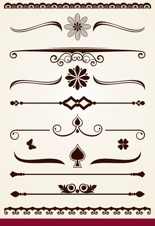 Horizontal page dividers and decorative design elements Illusztráció