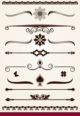 horizontal: Horizontal page dividers and decorative design elements Illustration
