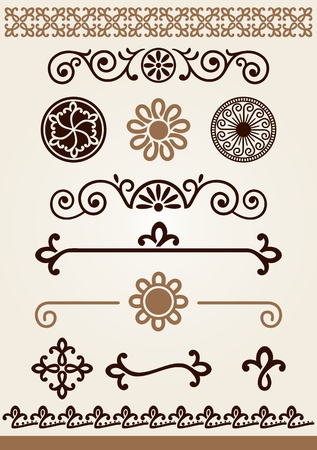 Unique borders, decorations and horizontal page or text dividers Çizim