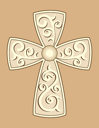 Christian Cross with decorations