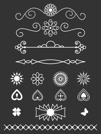 Dividers, border and line art design elements Illusztráció