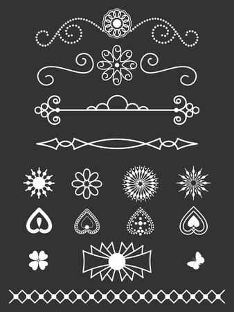 Dividers, border and line art design elements Illustration